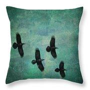 Flying Ravens Throw Pillow