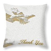 Flying Ruffed Grouse Thank You Throw Pillow