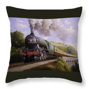 Flying Scotsman On Broadsands Viaduct. Throw Pillow