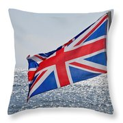 Flying The British Flag Throw Pillow