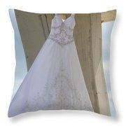 Flying Wedding Dress 3 Throw Pillow