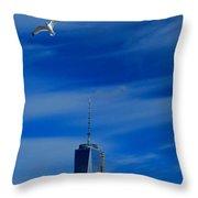 Flyover One World Trade Center Throw Pillow