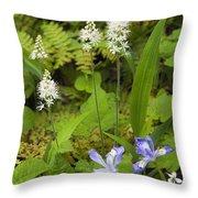 Foamflower And Crested Dwarf Iris - D008428 Throw Pillow