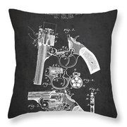 Foehl Revolver Patent Drawing From 1894 - Dark Throw Pillow