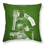 Foehl Revolver Patent Drawing From 1894 - Green Throw Pillow