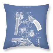 Foehl Revolver Patent Drawing From 1894 - Light Blue Throw Pillow