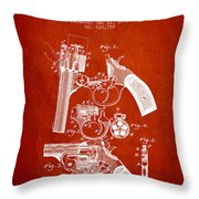 Foehl Revolver Patent Drawing From 1894 - Red Throw Pillow
