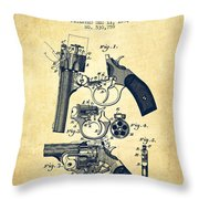 Foehl Revolver Patent Drawing From 1894 - Vintage Throw Pillow