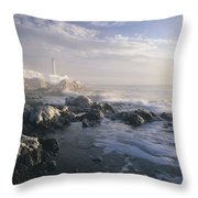 Fog And Rocky Shoreline In Winter With Throw Pillow