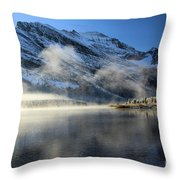 Fog At Swiftcurrent Throw Pillow