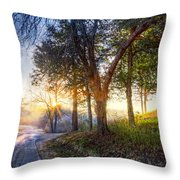 Fog At The Farm Throw Pillow