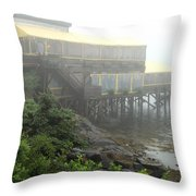 Fog At The Restaurant Throw Pillow