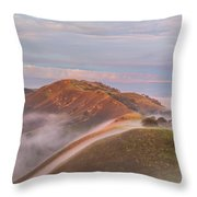 Fog Between Hills At Sunrise Throw Pillow