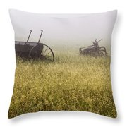 Fog Covered Field Throw Pillow