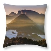 Fog Covered Mountains At Sunset Throw Pillow