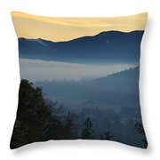 Fog Invades The Evans Valley Throw Pillow