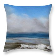 Fog Near Sunny Stonehaven Throw Pillow