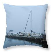Fog On The Marina - Jersey Shore Throw Pillow
