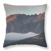 Fog Over Mountain At Dawn, Aorakimount Throw Pillow