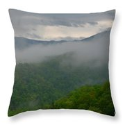 Fog Over The Smokies Throw Pillow