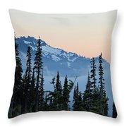 Mt. Rainier's Foggy Sunset Throw Pillow