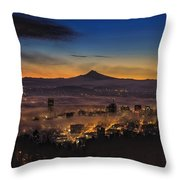 Fog Rolling In At Dawn Over The City Of Portland Throw Pillow