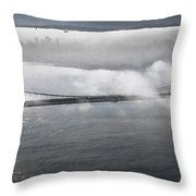 Fog Shrouded City Throw Pillow