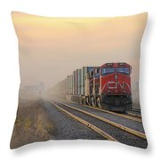 Fog Train In Winnipeg Manitoba Throw Pillow
