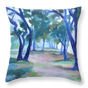 Fog Under The Oaks Throw Pillow