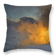 Foggy At Sunset 3000 Meters Throw Pillow