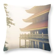 Foggy At The Reading Pagoda Throw Pillow