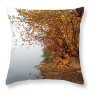 Foggy Autumn Riverbank Throw Pillow