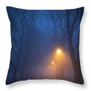 Foggy Avenue Of Trees With Path At Night No People Throw Pillow