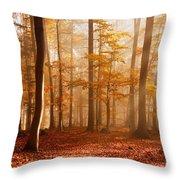 Foggy Beech Forest Throw Pillow