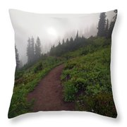 Foggy Crest Trail Throw Pillow by Mike  Dawson