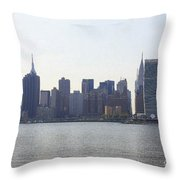 Foggy Day On The East River Throw Pillow