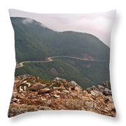 Foggy Day Road Through Cape Breton Highlands Np-ns Throw Pillow