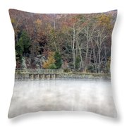 Foggy Fall On Maryland Towpath Throw Pillow
