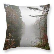 Foggy Fall River Throw Pillow