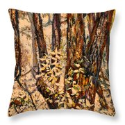 Foggy Forest Edge Throw Pillow