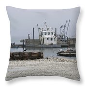 Foggy Harbor Throw Pillow