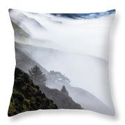 Foggy Hillside Throw Pillow