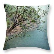Foggy Lake Superior Throw Pillow
