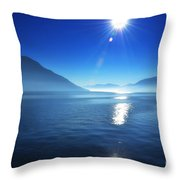Foggy Lake With Sun Throw Pillow