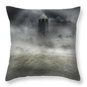 Foggy Landscape With Dark Tower Throw Pillow