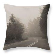 Foggy Morning Drive Throw Pillow
