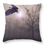 Foggy Morning Flight Throw Pillow