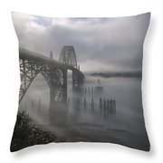 Foggy Morning In Newport Throw Pillow