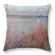 Foggy Morning On The Sacramento River Throw Pillow