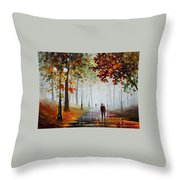 Foggy Morning - Palette Knife Contemporary Landscape Oil Painting On Canvas By Leonid Afremov - Size Throw Pillow